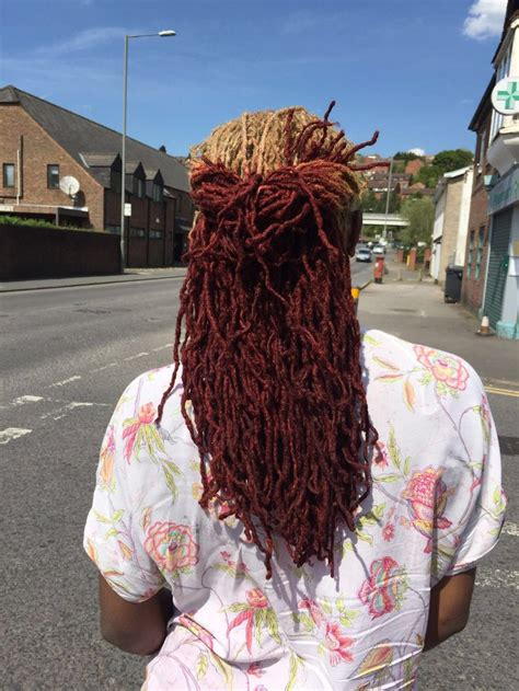 homemade dreadlock hair dye coloured locs blonde and red natural hair pinterest