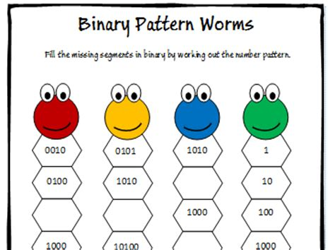 binary number pattern in c primary computing teaching resources binary tes