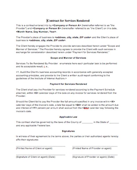 legal contract for services free printable documents