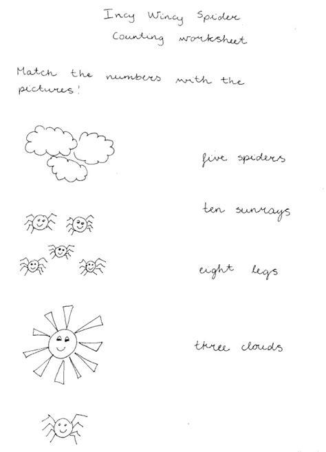 spider worksheets for kindergarten incy wincy spider misstesl