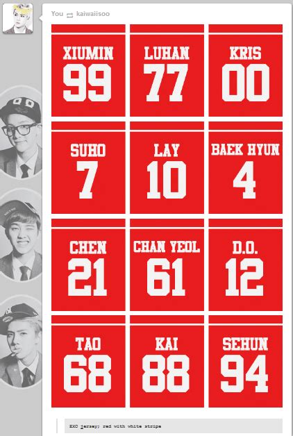 exo jersey number dani on twitter quot exo jersey numbers http t co bmksbat5dt quot
