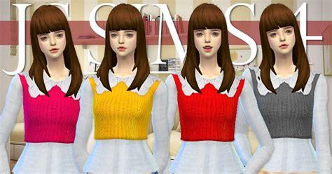 js sims 4 bow collar dress js sims 3 4 big collar cropped sweater js sims
