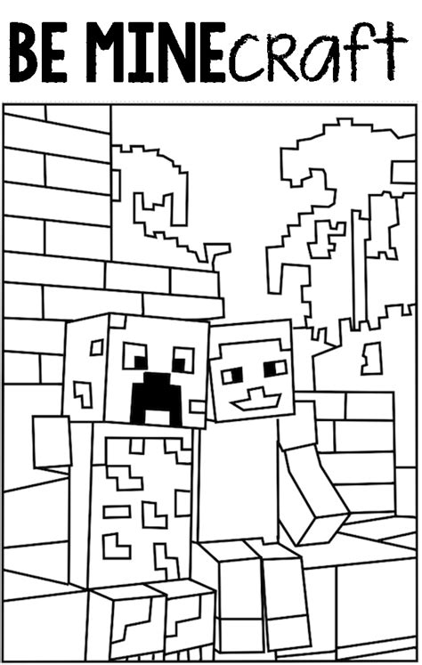 minecraft valentine coloring page thoughtful fill in the blank valentines day printable