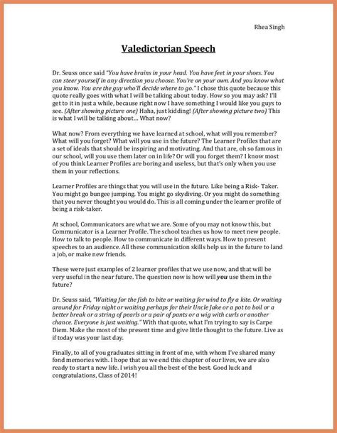 valedictorian speech template template free valedictorian speech exles
