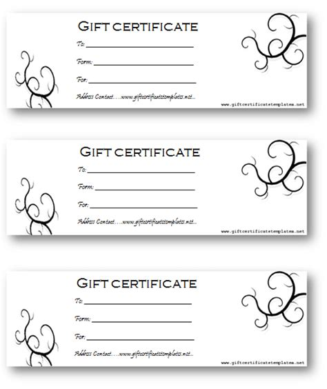 Black Bale Gift Certificate Template   Gift Certificates