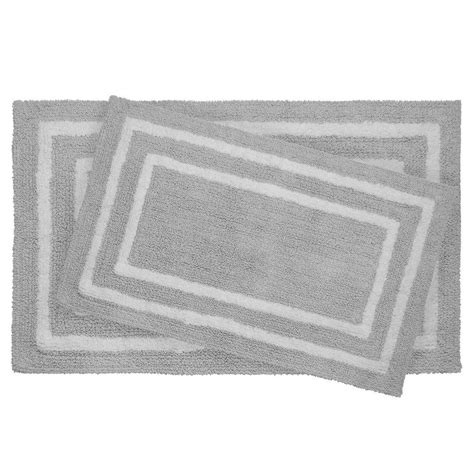 double bathroom rugs jean pierre reversible cotton soft double border gray 2