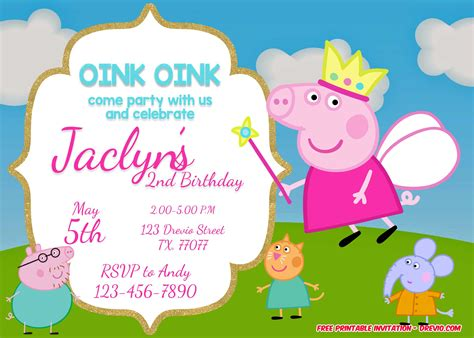 peppa pig invitation card template free printable peppa pig invitation template free
