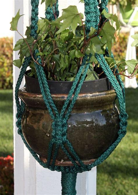 Handmade Macrame Plant Hangers - handmade forest green macrame plant hanger holder crowne