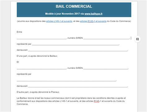 Modele Bail Commercial Gratuit