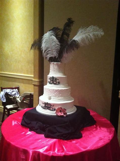 Damask & feather themed wedding cake   Weddingbee Photo
