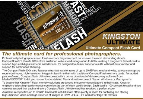 Kingston Compactflash Memory Card Ultimate 600x 90mbs 32gb Cf32g kingston ultimate 32gb flash memory card 600x