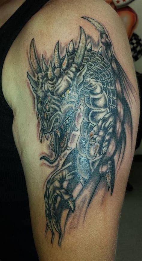 dragon tattoo rules greyshade dragon part sleeve tattoo fantasy mythical
