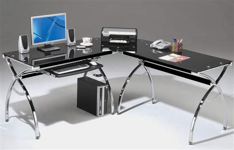glass l shape computer desk with silver frame finish rta products techni mobili corner l shaped black glass