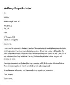 Resignation Letter Format Career Change Resignation Letters In Pdf