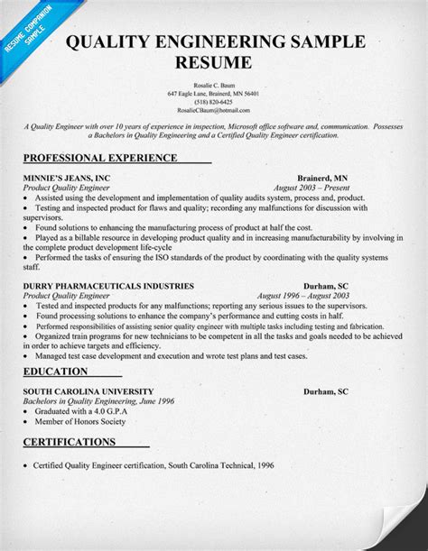 Quality Resume by Sle Resume