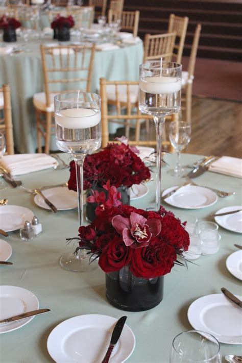 Burgundy Wedding For The Centerpieces We Created Duos Of Burgundy Wedding Centerpieces