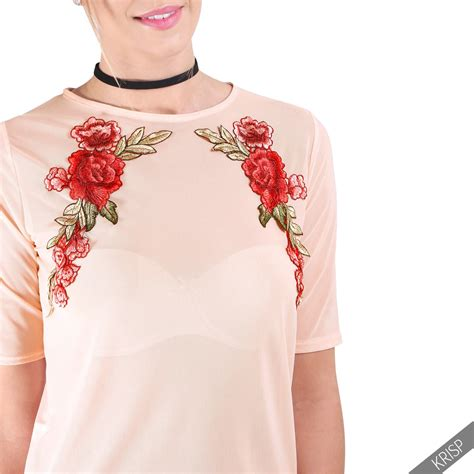 new womens flower embroidered crop mesh see through sheer