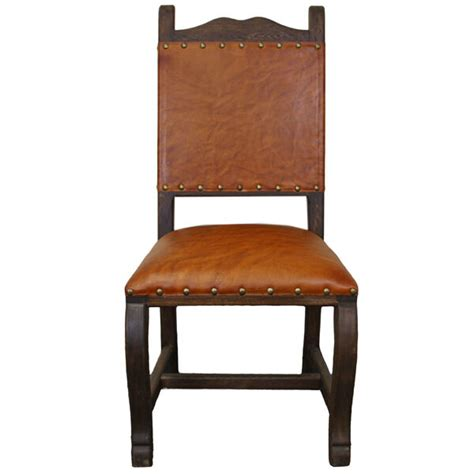 rustic leather dining chairs real leather seat back dining chair rustic western cabin