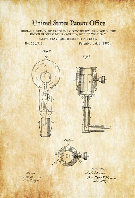 Average Size Kitchen edison light bulb and holder patent 1882 light bulb
