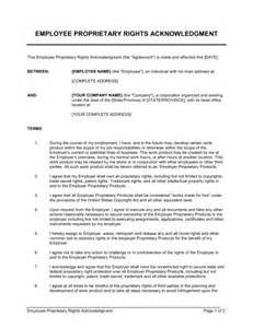 Acknowledgement Agreement Template employee proprietary rights acknowledgment template