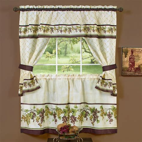 grape curtains tuscany grape kitchen window tier and valance set