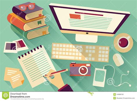 layout artist online work flat design objects work desk long shadow office desk