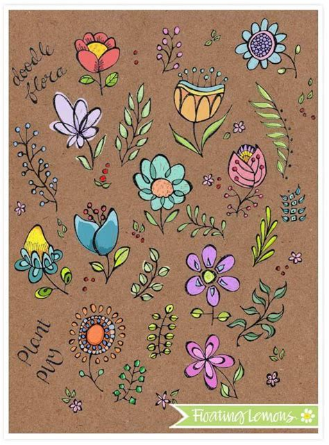 doodle flowers and leaves by mariana musa floating