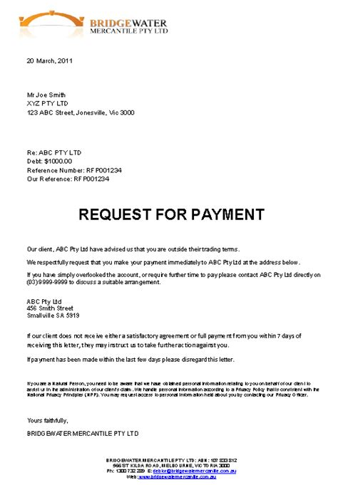 Request Payment Letter Collection Demand Fast Effective Debt Recovery
