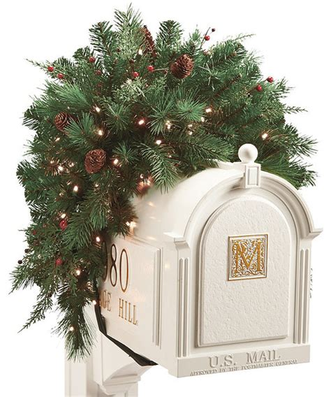white pine cordless mailbox christmas swag christmas decor
