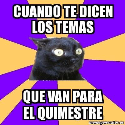 Anxiety Cat Meme Generator - meme anxiety cat cuando te dicen los temas que van para