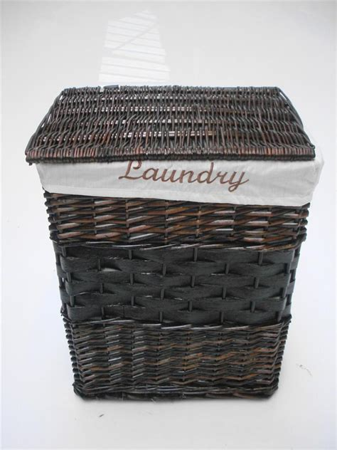 Bathroom Storage Baskets White White Black Brown Wicker Oval Rectangle Laundry Basket Bathroom Storage Ebay