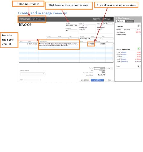 creating and managing invoice on quickbooks