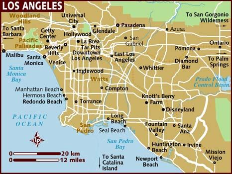 los angeles map usa map of los angeles