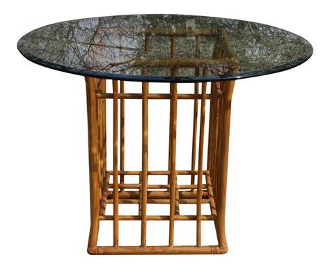 vintage glass top dining table vintage rattan glass top dining table base only