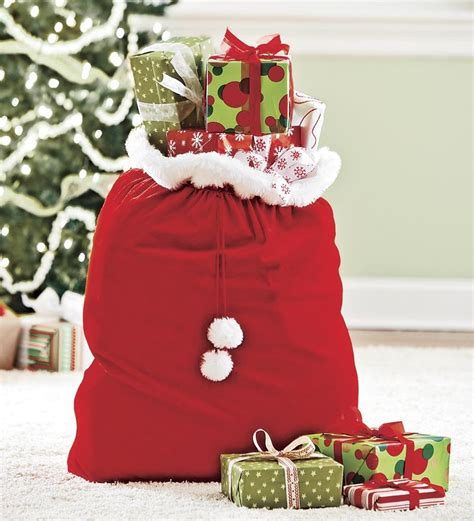velvet gift santa sack with cord drawstring furniture