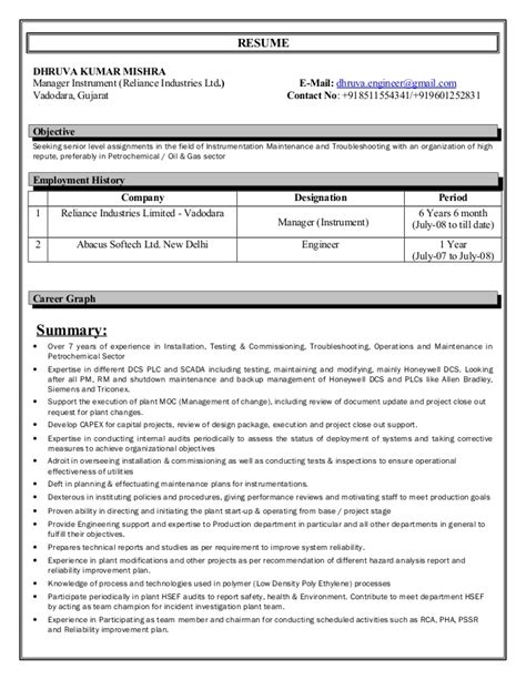 experienced instrumentation engineer resume format resume instrumentation engineer 7 5 year experience