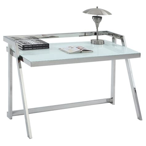 Office Desk White Starphire Glass Shiny Stainless Steel White Shiny Desk