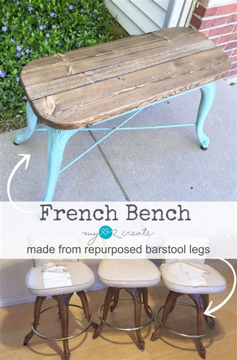 bench made from old chairs repurposed bar stool leg bench my repurposed life