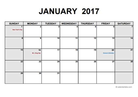 Calendar Template 2017 Monthly