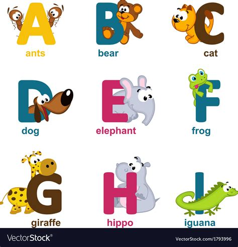 alphabet with animals stock vector alphabet animals from a to i royalty free vector image