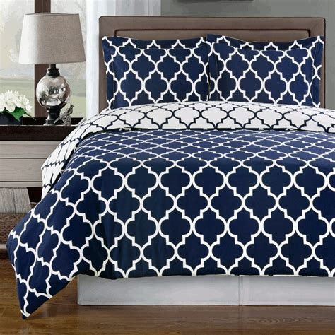 meridian navy reversible cotton comforter set free shipping