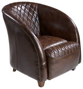 michele brown top grain leather club chair traditional