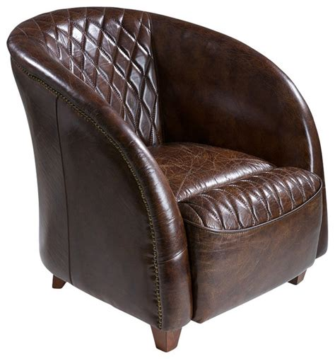 armchair club michele brown top grain leather club chair traditional