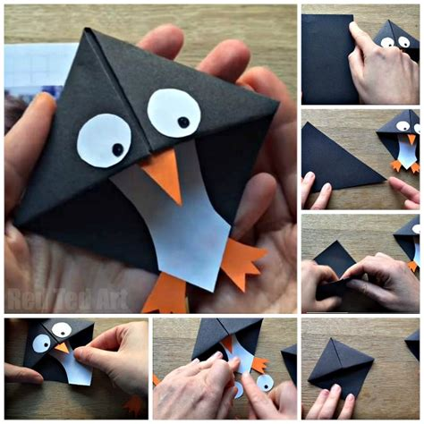 Introduction To Origami - easy penguin bookmark corner ted s