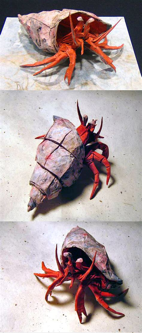 Hermit Crab Origami - seawayblog 12 amazing origami of aquatic animals