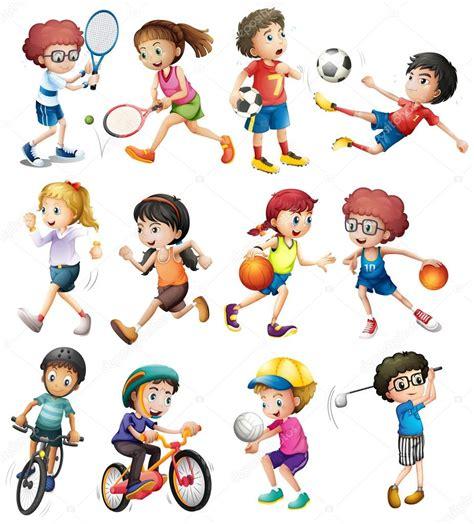 imagenes de escolares jugando ni 241 os haciendo diferentes deportes vector de stock