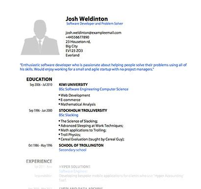 Resume Pdf Template by Pdf Templates For Cv Or Resume Pdfcv