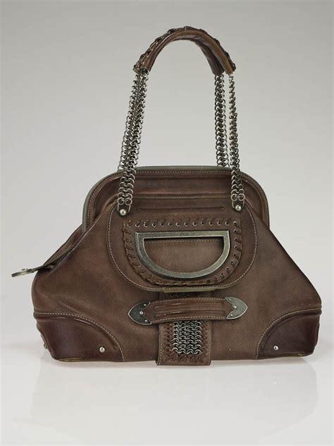Jeanne Nubuck Medium Bag by Christian Brown Leather Jeanne Medium Frame Tote Bag