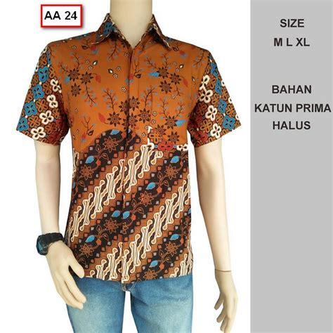 Kemeja Lengan Pendek Pria Cowok Murah Terbaru Best Seller Keren Motif 100 gambar ukuran baju batik lelaki dengan batik pria