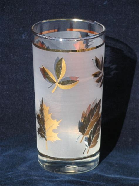 Golden Gelas Tumbler Jus golden foliage vintage libbey glasses set of 8 glass tumblers w gold